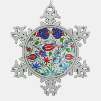 Turkish floral design snowflake pewter christmas ornament