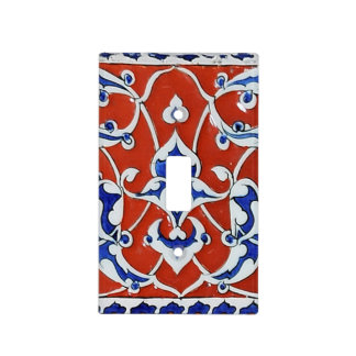 Turkish floral tiles light switch covers