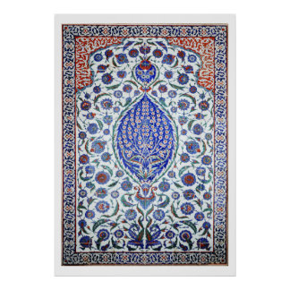 Turkish floral tiles Poster