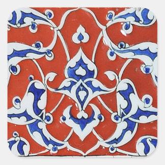 Turkish floral tiles square sticker
