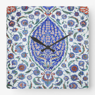 Turkish floral tiles square wall clock