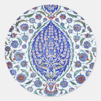 Turkish floral tiles round stickers