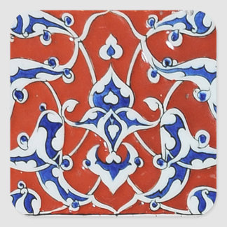 Turkish floral tiles square stickers