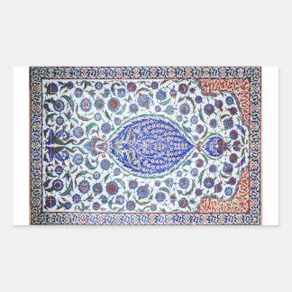 Turkish floral tiles rectangular stickers