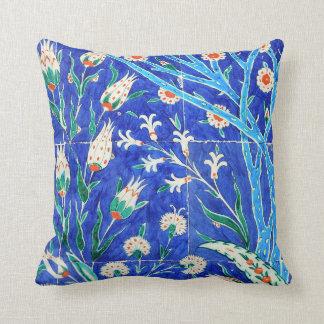 Turkish floral tiles throw pillow