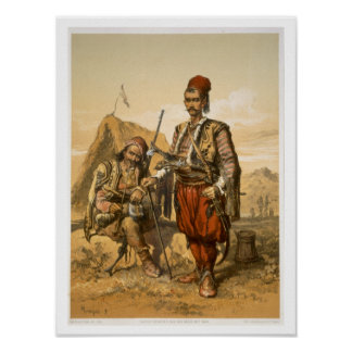 Turkish foot soldiers in the Ottoman army, pub. by Poster