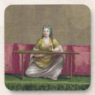 Turkish Girl, embroidering, 18th century (engravin Beverage Coasters