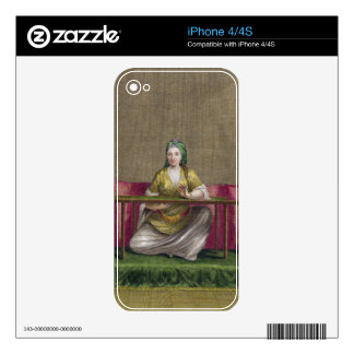 Turkish Girl, embroidering, 18th century (engravin Decals For iPhone 4