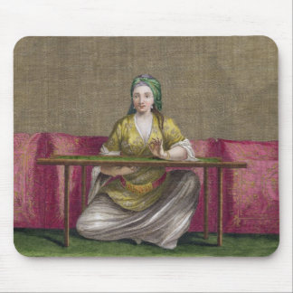 Turkish Girl, embroidering, 18th century (engravin Mouse Pad
