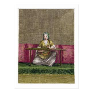 Turkish Girl, embroidering, 18th century (engravin Postcard