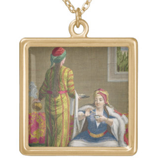 Turkish Girl, having coffee on the sofa, 18th cent Gold Plated Necklace