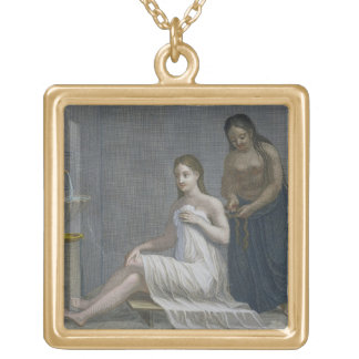Turkish Girl, having her hair braided in the baths Square Pendant Necklace