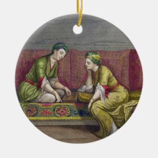 Turkish Girls, playing Mangala, 18th century (engr Ceramic Ornament