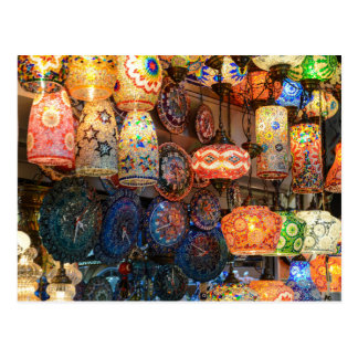 Turkish Glass Lamps for Sale in Istanbul Market Postcard