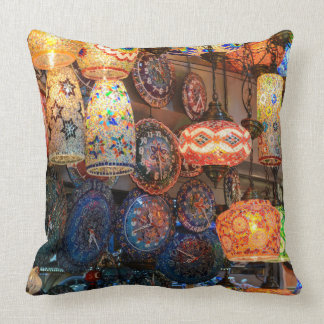 Turkish Glass Lamps for Sale in Istanbul Market Throw Pillow