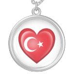 Turkish Heart Flag on White Round Pendant Necklace
