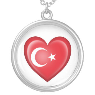 Turkish Heart Flag on White Silver Plated Necklace
