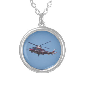 Turkish helicopter ambulance. silver plated necklace