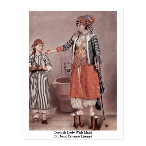Turkish Lady With Maid By Jean-Etienne Liotard Post Cards