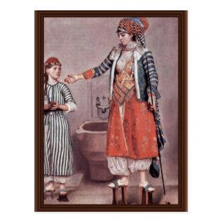 Turkish Lady With Maid By Liotard Jean-ÉTienne (B Postcard