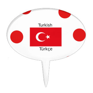 Turkish Language And Turkey Flag Design Cake Topper
