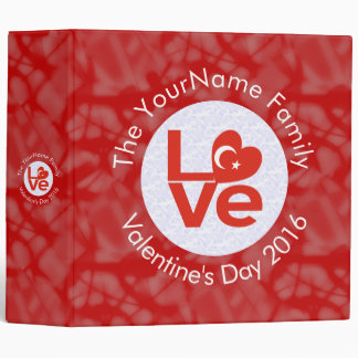 Turkish LOVE White on Red 3 Ring Binder
