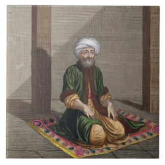 Turkish Man, praying, 18th century (engraving) Ceramic Tile