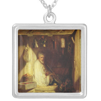 Turkish Merchant Smoking in his Shop, 1844 Silver Plated Necklace