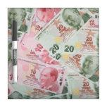 Turkish Money Background Dry-Erase Whiteboards