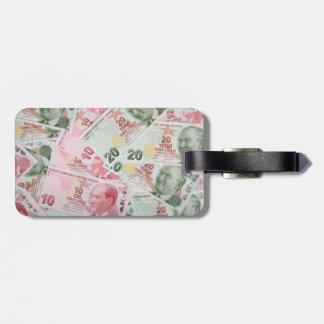 Turkish Money Background Luggage Tag