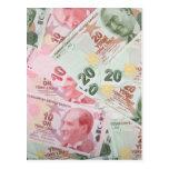 Turkish Money Background Post Cards
