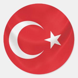 turkish national flag classic round sticker