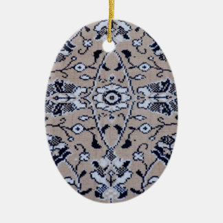Turkish Rug Double-Sided Oval Ceramic Christmas Ornament