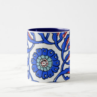 Turkish Tile Blue Flower Macro Pattern Two-Tone Coffee Mug