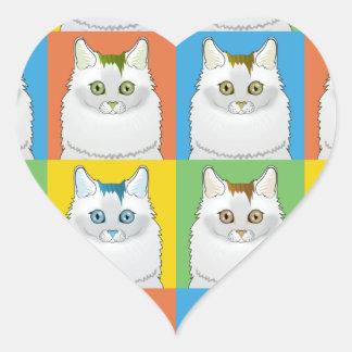 Turkish Van Cat Cartoon Pop-Art Heart Sticker