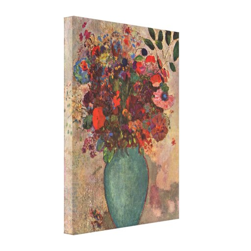 Turkish Vase, Odilon Redon, Vintage Flowers Floral Stretched Canvas Print