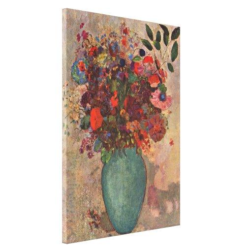 Turkish Vase, Odilon Redon, Vintage Flowers Floral Canvas Print