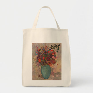 Turkish Vase, Odilon Redon, Vintage Flowers Floral Grocery Tote Bag