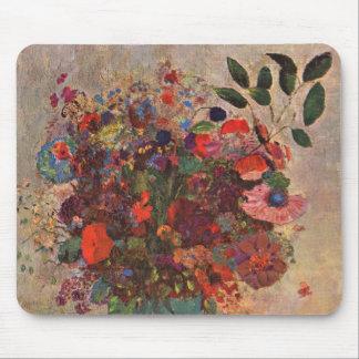 Turkish Vase, Odilon Redon, Vintage Flowers Floral Mouse Pad