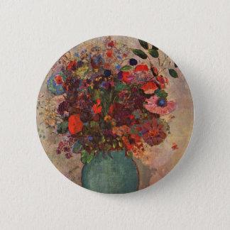Turkish Vase, Odilon Redon, Vintage Flowers Floral Pinback Button