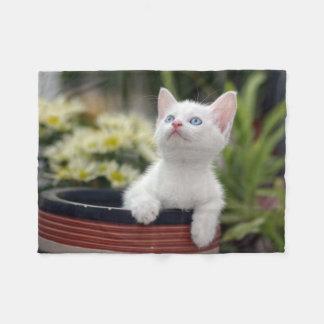 Turkish White Kitten (2.5 Months Old ) Fleece Blanket