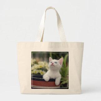 Turkish White Kitten (2.5 Months Old ) Large Tote Bag