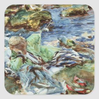 Turkish Woman by a Stream Square Sticker
