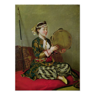 Turkish Woman with a Tambourine Poster