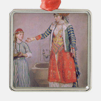 Turkish Woman with her Servant Metal Ornament