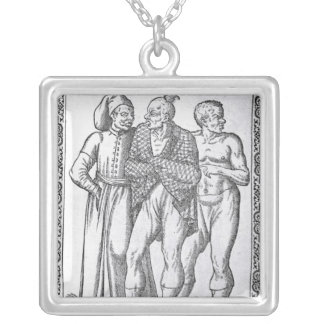 Turkish Wrestlers Silver Plated Necklace