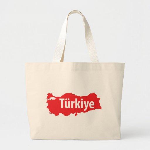 Türkiye contour icon large tote bag