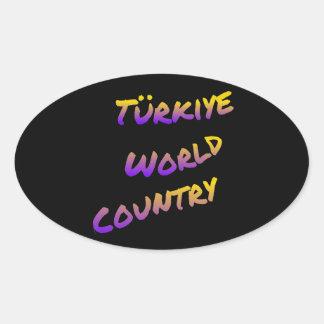 Türkiye world country, colorful text art oval sticker