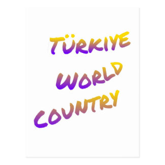 Türkiye world country, colorful text art postcard