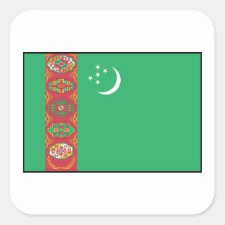 Turkmenistán - bandera turcomana calcomanía cuadradas personalizadas